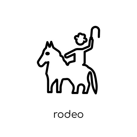 rodeo icon. Trendy modern flat linear vector rodeo icon on white background from thin line Circus collection, outline vector illustration 版權商用圖片 - 112418833