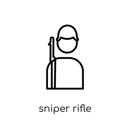 sniper rifle icon. Trendy modern flat linear vector sniper rifle icon on white background from thin line Army collection, outline vector illustration Çizim