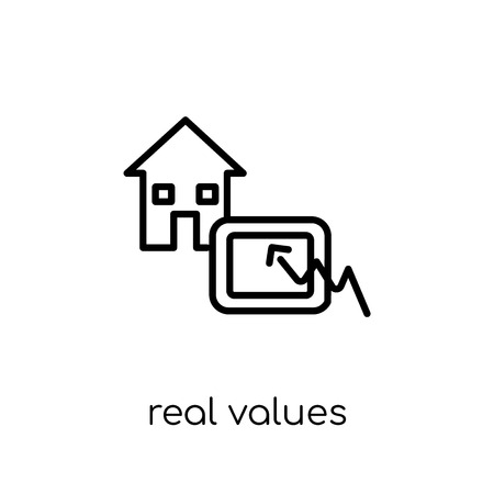 Real values icon. Trendy modern flat linear vector Real values icon on white background from thin line business collection, editable outline stroke vector illustration 向量圖像
