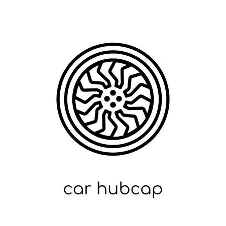 Symbol für die Radkappe des Autos. Trendiges modernes flaches lineares Vektorauto-Radkappensymbol auf weißem Hintergrund aus dünner Linie Autoteilesammlung, Umrissvektorillustration