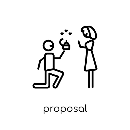 proposal icon. Trendy modern flat linear vector proposal icon on white background from thin line Wedding and love collection, outline vector illustration