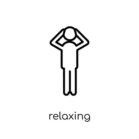 Relaxing icon. Trendy modern flat linear vector Relaxing icon on white background from thin line Activity and Hobbies collection, editable outline stroke vector illustration