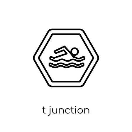 T junction sign icon. Trendy modern flat linear vector T junction sign icon on white background from thin line traffic sign collection, editable outline stroke vector illustration