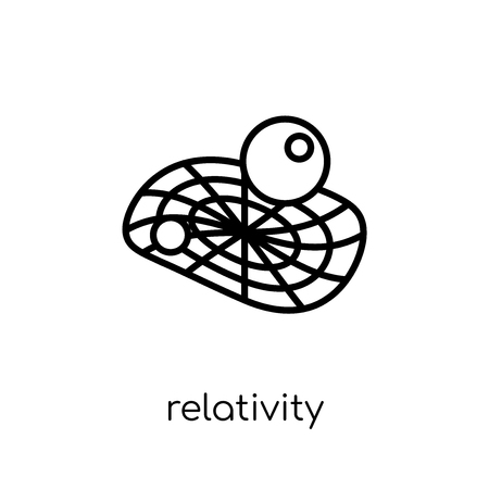 relativity icon. Trendy modern flat linear vector relativity icon on white background from thin line Astronomy collection, outline vector illustration Illustration
