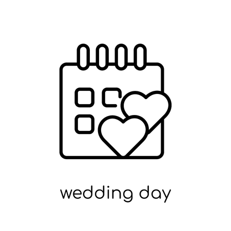 wedding day icon. Trendy modern flat linear vector wedding day icon on white background from thin line Wedding and love collection, outline vector illustration 版權商用圖片 - 112418848