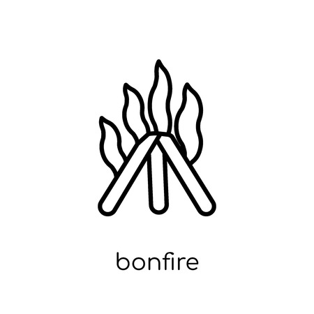 bonfire icon. Trendy modern flat linear vector bonfire icon on white background from thin line Camping collection, outline vector illustration 向量圖像