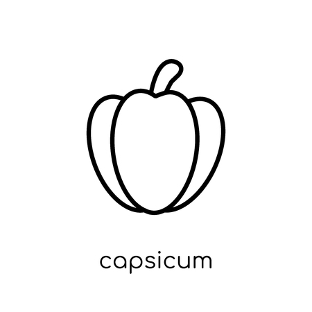 capsicum icon. Trendy modern flat linear vector capsicum icon on white background from thin line Agriculture, Farming and Gardening collection, outline vector illustration Illustration