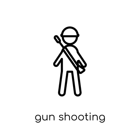 gun shooting icon. Trendy modern flat linear vector gun shooting icon on white background from thin line Army collection, outline vector illustration