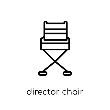 Director chair icon. Trendy modern flat linear vector Director chair icon on white background from thin line Cinema collection, editable outline stroke vector illustration