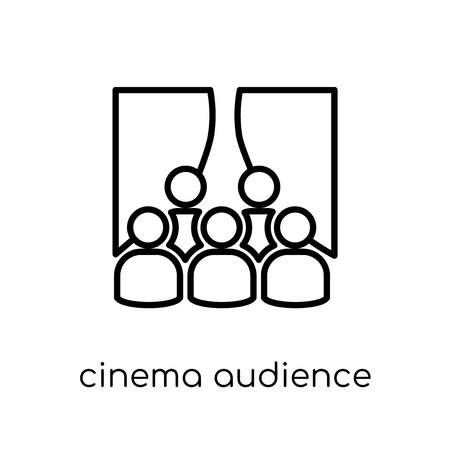 cinema audience icon. Trendy modern flat linear vector cinema audience icon on white background from thin line Cinema collection, editable outline stroke vector illustration