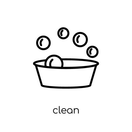 Icona pulita. Moderno appartamento lineare vettoriale pulito icona su priorità bassa bianca da collezione di pulizia di linea sottile, illustrazione di vettore di corsa di profilo modificabile Vettoriali