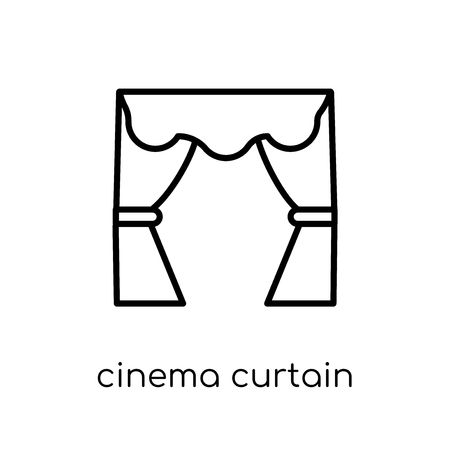 Cinema Curtain icon. Trendy modern flat linear vector Cinema Curtain icon on white background from thin line Cinema collection, editable outline stroke vector illustration