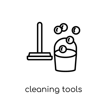 Cleaning tools icon. Trendy modern flat linear vector Cleaning tools icon on white background from thin line Cleaning collection, editable outline stroke vector illustration Illustration