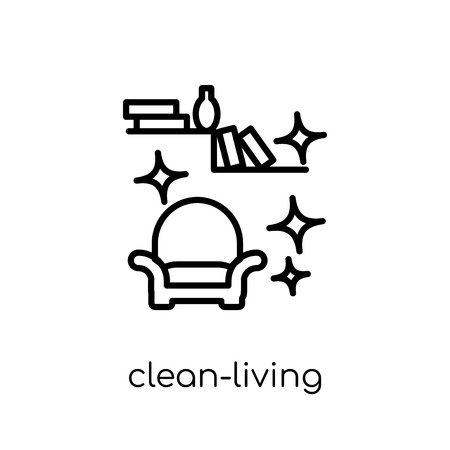 clean-living icon. Trendy modern flat linear vector clean-living icon on white background from thin line Cleaning collection, editable outline stroke vector illustration 向量圖像