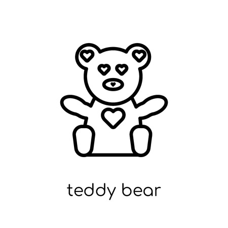 teddy bear icon. Trendy modern flat linear vector teddy bear icon on white background from thin line Birthday and Party collection, outline vector illustration