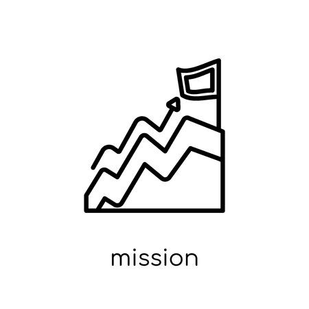Icône de mission. Icône moderne dernier cri de Mission plat linéaire vectoriel sur fond blanc de la mince ligne Business and analytics collection, illustration de vecteur editable contour AVC