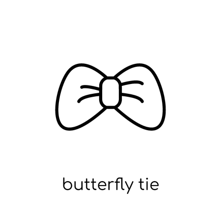 butterfly tie icon. Trendy modern flat linear vector butterfly tie icon on white background from thin line Butterfly tie collection, outline vector illustration