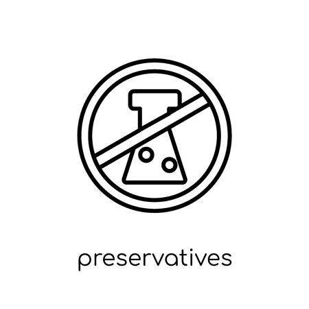 Preservatives icon. Trendy modern flat linear vector Preservatives icon on white background from thin line Cleaning collection, editable outline stroke vector illustration Banque d'images - 111328148