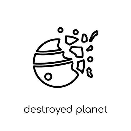 destroyed planet icon. Trendy modern flat linear vector destroyed planet icon on white background from thin line Astronomy collection, outline vector illustration