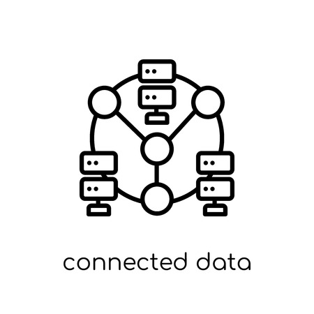 Connected data icon. Trendy modern flat linear vector Connected data icon on white background from thin line Business and analytics collection, editable outline stroke vector illustration