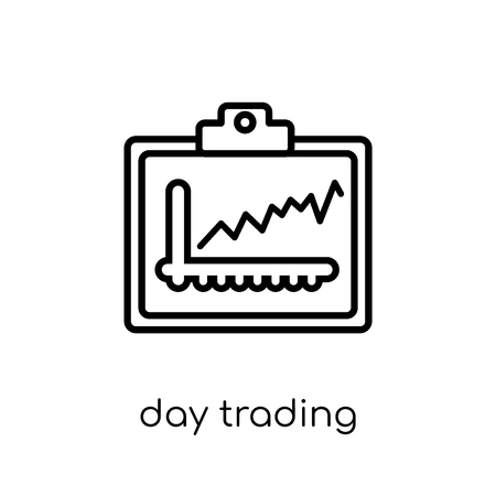 day trading icon. Trendy modern flat linear vector day trading icon on white background from thin line Day trading collection, outline vector illustration