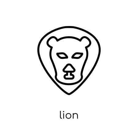 Lion icon. Trendy modern flat linear vector Lion icon on white background from thin line animals collection, editable outline stroke vector illustration Illustration
