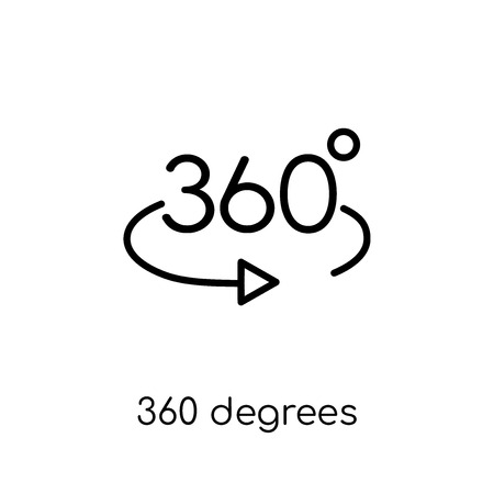 360 degrees icon. Trendy modern flat linear vector 360 degrees icon on white background from thin line Artificial Intelligence, Future Technology collection, outline vector illustration