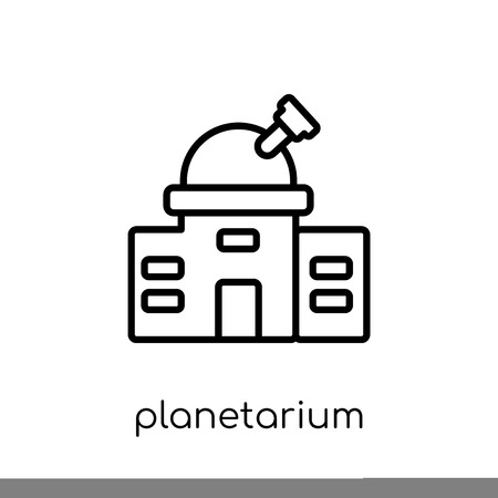 planetarium icon. Trendy modern flat linear vector planetarium icon on white background from thin line Astronomy collection, outline vector illustration