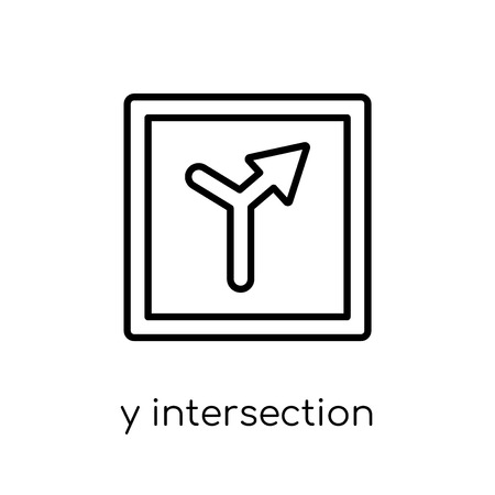 Y intersection sign icon. Trendy modern flat linear vector Y intersection sign icon on white background from thin line traffic sign collection, editable outline stroke vector illustration