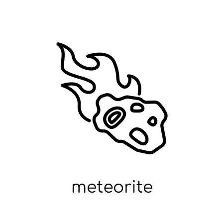meteorite icon. Trendy modern flat linear vector meteorite icon on white background from thin line Astronomy collection, outline vector illustration