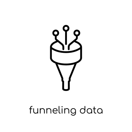 Funneling Data icon. Trendy modern flat linear vector Funneling Data icon on white background from thin line Business and analytics collection, editable outline stroke vector illustration