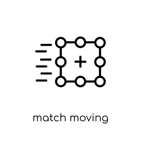 match moving icon. Trendy modern flat linear vector match moving icon on white background from thin line Artificial Intelligence, Future Technology collection, outline vector illustration Stock Illustratie