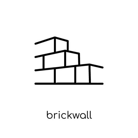 Brickwall icon. Trendy modern flat linear vector Brickwall icon on white background from thin line Architecture and Travel collection, editable outline stroke vector illustration 向量圖像