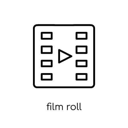 Film roll icon. Trendy modern flat linear vector Film roll icon on white background from thin line Cinema collection, editable outline stroke vector illustration