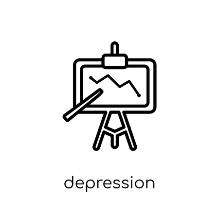 depression icon. Trendy modern flat linear vector depression icon on white background from thin line Diseases collection, outline vector illustration Ilustrace