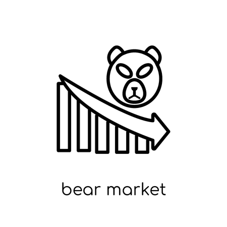 bear market icon. Trendy modern flat linear vector bear market icon on white background from thin line Bear market collection, outline vector illustration