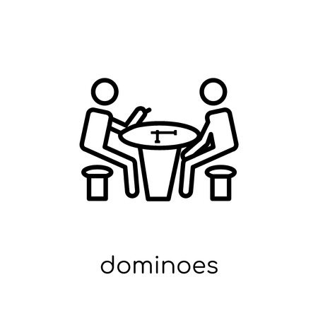 Dominoes icon. Trendy modern flat linear vector Dominoes icon on white background from thin line Activity and Hobbies collection, editable outline stroke vector illustration