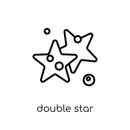 double star icon. Trendy modern flat linear vector double star icon on white background from thin line Astronomy collection, outline vector illustration