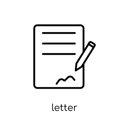 letter icon. Trendy modern flat linear vector letter icon on white background from thin line Communication collection, outline vector illustration 版權商用圖片 - 112419304
