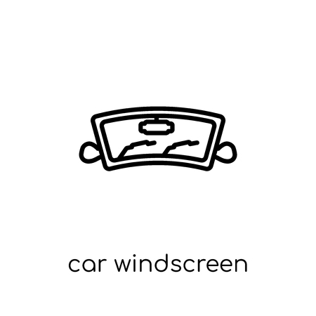 car windscreen icon. Trendy modern flat linear vector car windscreen icon on white background from thin line Car parts collection, outline vector illustration