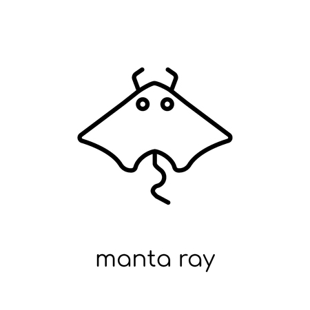 Manta ray icon. Trendy modern flat linear vector Manta ray icon on white background from thin line animals collection, editable outline stroke vector illustration Фото со стока - 112419307