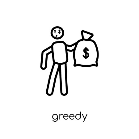 Greedy icon. Trendy modern flat linear vector Greedy icon on white background from thin line Activity and Hobbies collection, editable outline stroke vector illustration