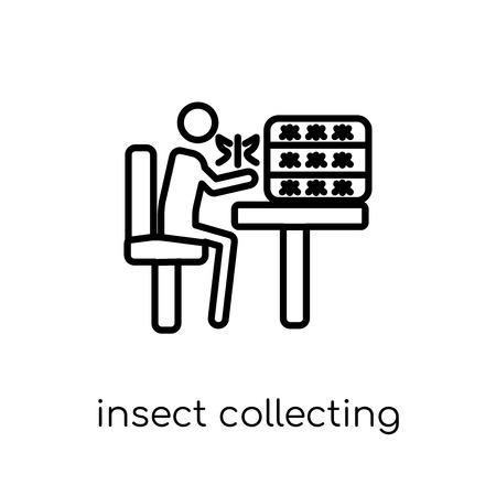 Insect collecting icon. Trendy modern flat linear vector Insect collecting icon on white background from thin line Activity and Hobbies collection, editable outline stroke vector illustration