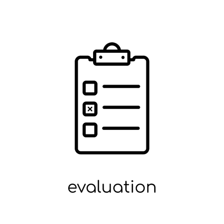 evaluation icon. Trendy modern flat linear vector evaluation icon on white background from thin line Artificial Intelligence, Future Technology collection, outline vector illustration