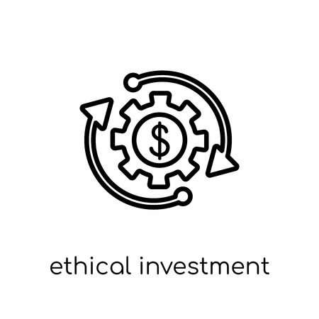 ethical investment icon. Trendy modern flat linear vector ethical investment icon on white background from thin line Ethical investment collection, outline vector illustration
