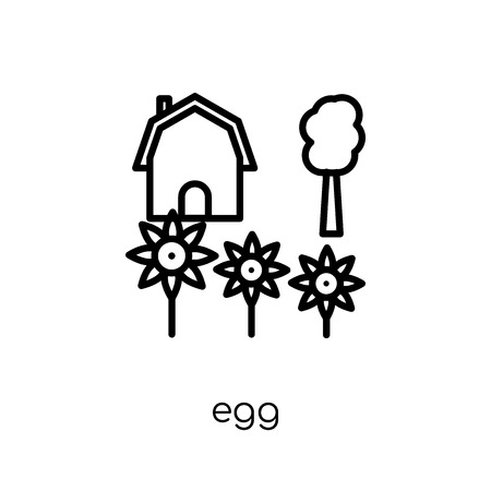 egg icon. Trendy modern flat linear vector egg icon on white background from thin line Agriculture, Farming and Gardening collection, outline vector illustration Stockfoto - 112419333