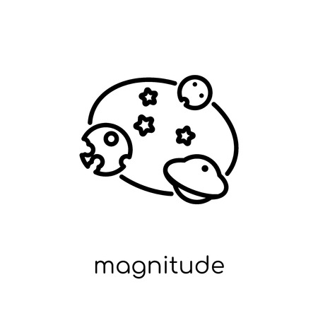 magnitude icon. Trendy modern flat linear vector magnitude icon on white background from thin line Astronomy collection, outline vector illustration