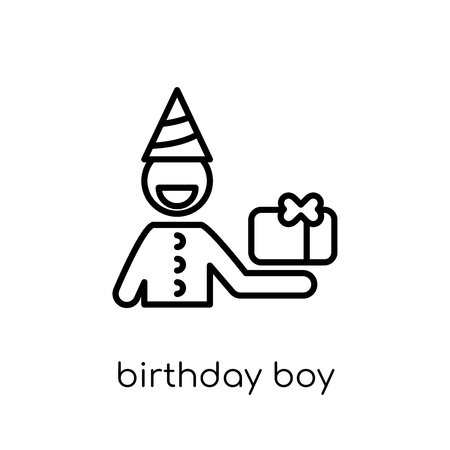 birthday boy icon. Trendy modern flat linear vector birthday boy icon on white background from thin line Birthday and Party collection, outline vector illustration