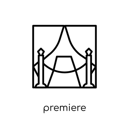 Premiere icon. Trendy modern flat linear vector Premiere icon on white background from thin line Cinema collection, editable outline stroke vector illustration