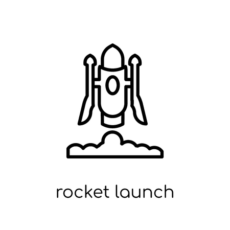 rocket launch icon. Trendy modern flat linear vector rocket launch icon on white background from thin line Astronomy collection, outline vector illustration